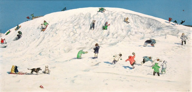 Kurelek1- Eskimo-children-playing-Cape-Dorset