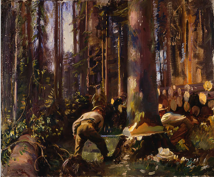 Munnings_-_Felling_a_Tree_in_the_Vosges