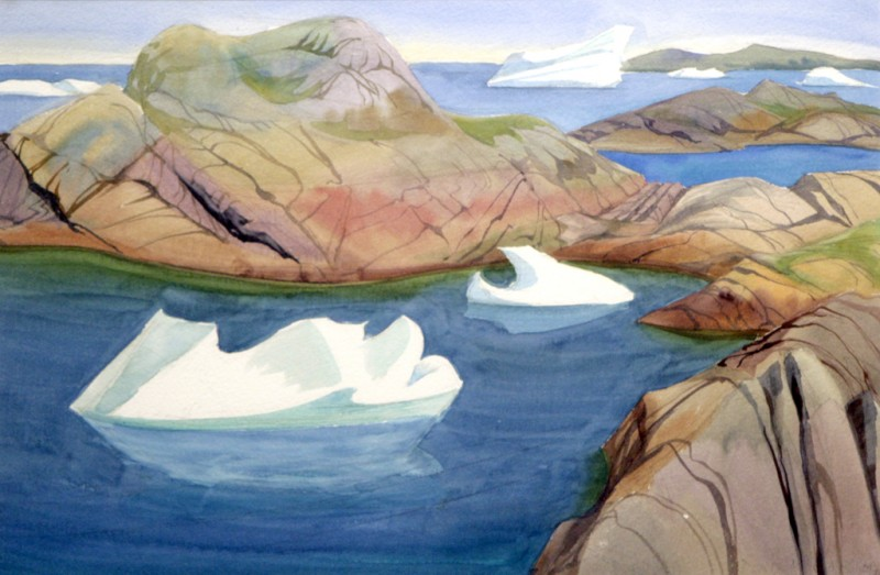 Doris-McCarthy-Icebergs-among-the-Islands-1995-watercolour-on-paper-15x22