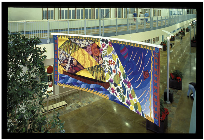 Parkland, 2000, woven tapestry, 5.5 x 2.4 m. Collection: Collicut Centre, Red Deer Alberta