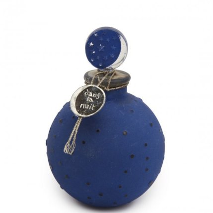 1924 R. Lalique for Worth Dans la Nuit (In the Night), clear glass perfume bottle and stopper, blue enamel, sealed