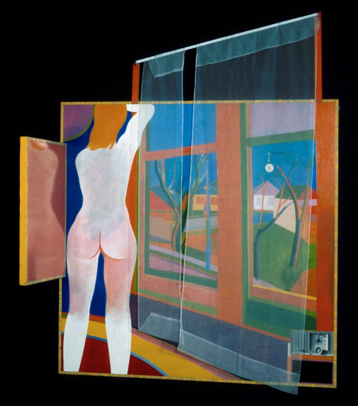 Greg Curnoe, Spring on the Ridgeway, 1964; oil on plywood and Masonite, rayon/nylon, metal, wood, paper, and string; 187 x 187 cm; Art Gallery of Ontario, Toronto. Sheila Thompson, who married Greg Curnoe in 1965, was the subject of many works throughout his career.
