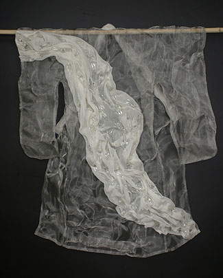 """Hyoryu"" (carried by currents) 34.5""h x 28""w x 3""d Hotwork glass, stainess steel mesh, recycled fabric"