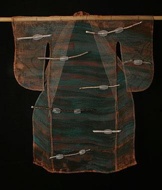 """Kangae"" (thought) 43""h x 37""w x 2.5""d Blown glass, copper mesh, stick"