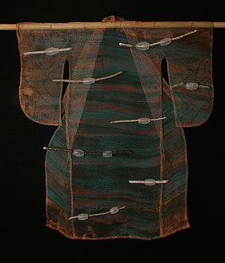 """Kangae"" (thought) 43""h x 37""w x 2.5""d Blown glass, copper mesh, stick"