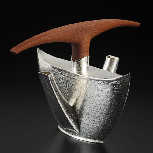 "21st century A.D. teapot, silver, mahogany, 7×9.25×7.5"""