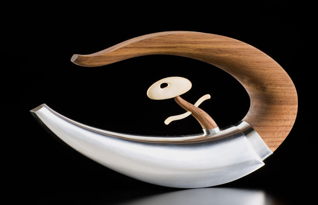 Surfing the Wave teapot, silver, teak, bone, 5.75×10.5×2""