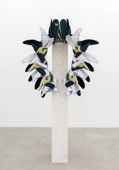 Walk This Way (Fall), 2015–2016, nike air jordans, painted fir plywood, stainless steel, 75 x 24 x 24 in. (191 x 61 x 61 cm) via Catriona Jeffries https://bit.ly/2Xsv0uV