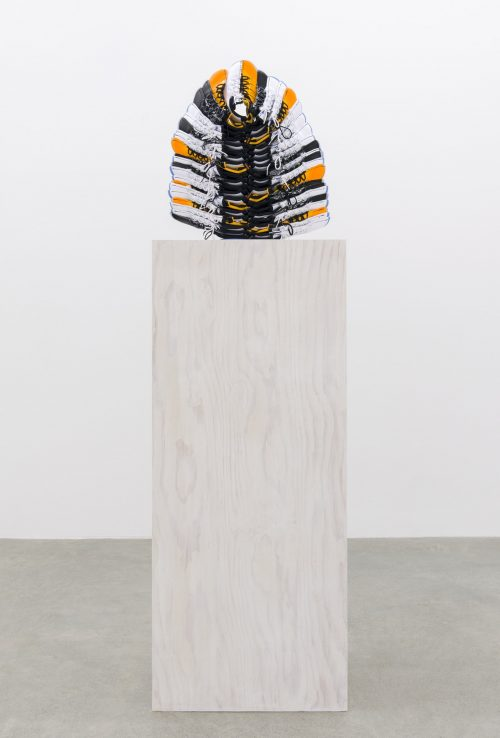 Lay Down Tender Fire, 2015–2016, nike air jordans, painted fir plywood, stainless steel, 100 x 17 x 24 in. (254 x 43 x 61 cm) via Catriona Jeffries https://bit.ly/2Xsv0uV