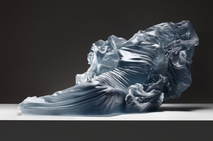 Reclining Etude 8, 1/5, 2016, cast glass, lighter, 11 2/3 x 25 x 13 in.
