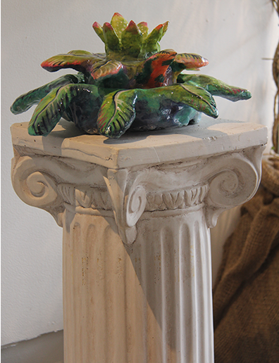 Fountain Flora 3.5 x 1.5 x 1.5 resin and paint on winterstone and fountain pump, found plaster column